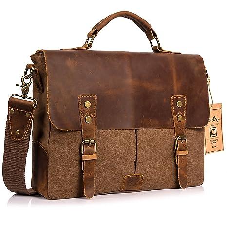 Amazon Com Niceebag Leather Messenger Bag Vintage Canvas Laptop