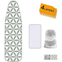 Ironing Board Cover and Pad Extra Thick Heavy Duty Padded 4 Layers Non Stick Scorch and Stain Resistant 15x54 and 3…