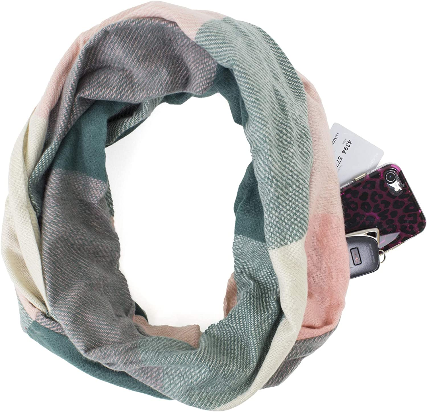 StylesILove Winter Plaid Infinity Scarf with Hidden Zipper Pocket Fashion Travel Scarf for Men Women and Teens