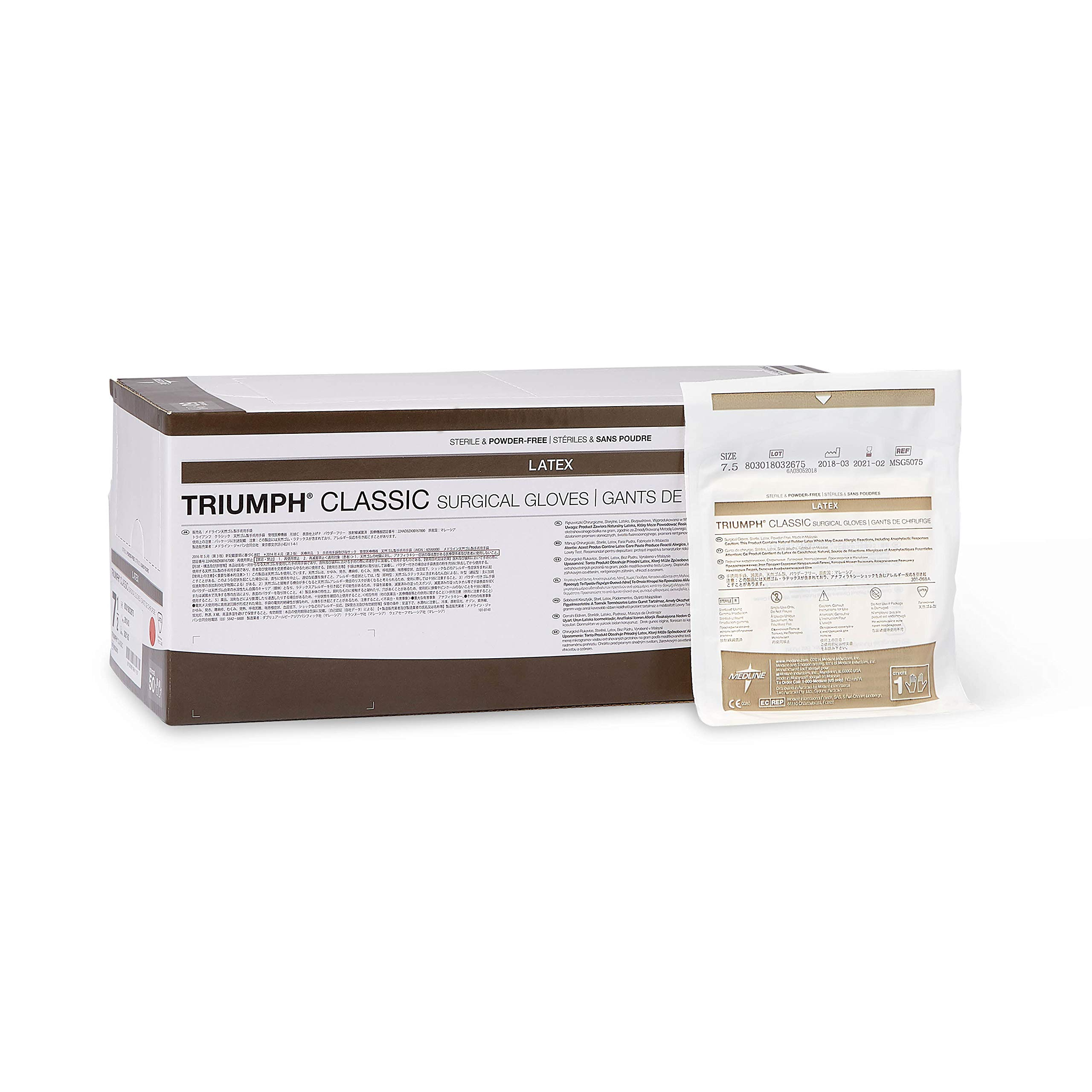 Medline MSG5075 Triumph Classic Sterile Powder-Free Latex Surgical Glove, Size 7.5 (Pack of 200) by Medline