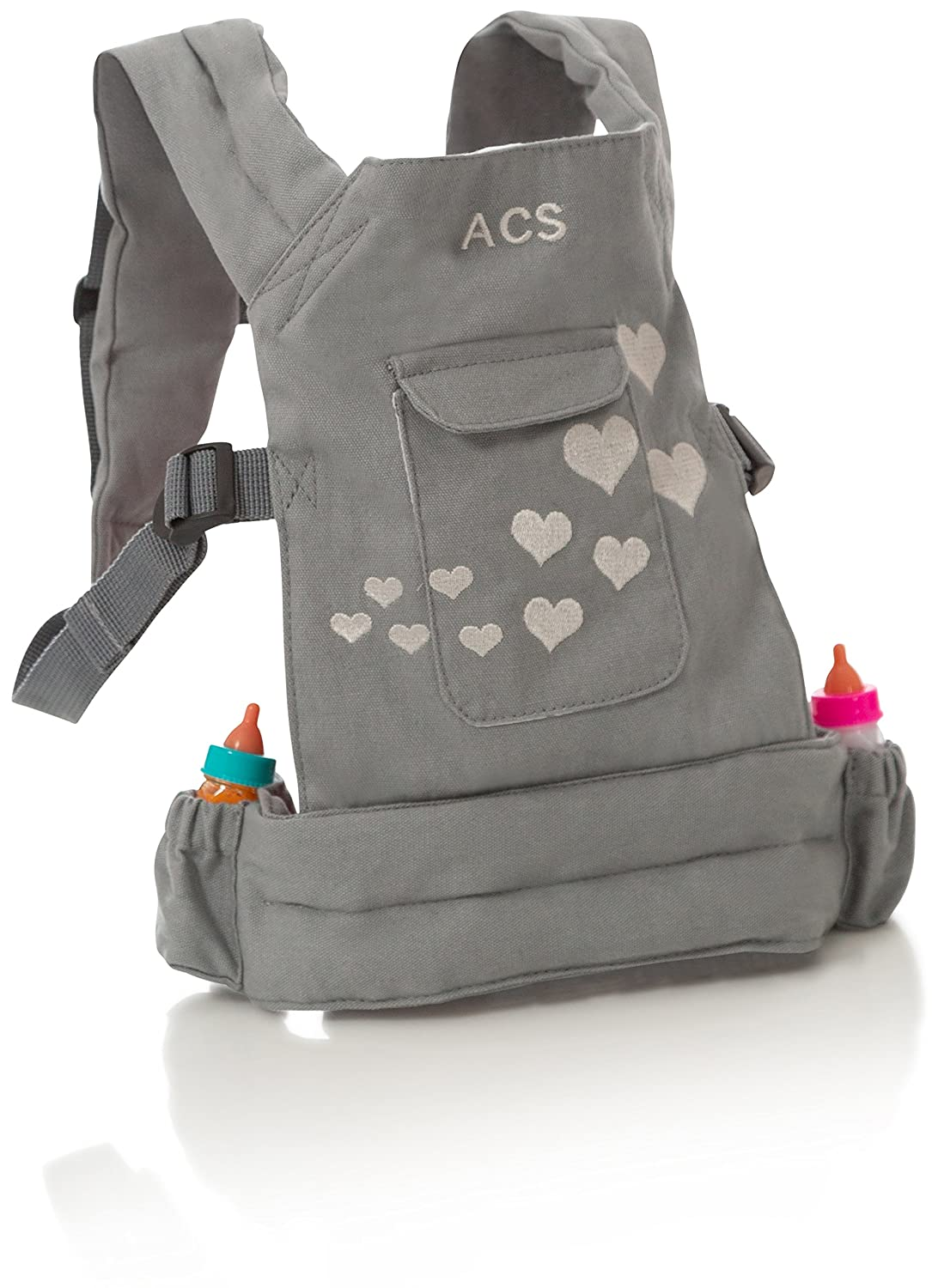 ACS Baby Doll Carrier Backpack - Grey, Fits 18 inch Dolls Includes Set of Magic Toy Bottles