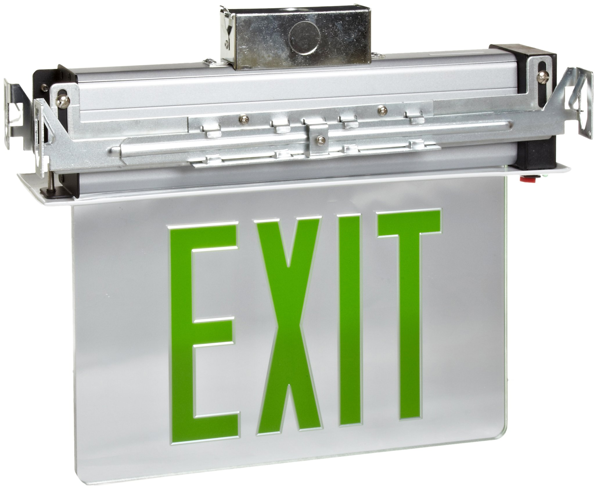 Morris Products LED Exit Sign - Recessed Mount Edge - Green on Clear Panel, White Housing - Compact, Low-Profile Design - Single Sided Legend - Energy Efficient, High Output - 1 Count by Morris Products (Image #1)