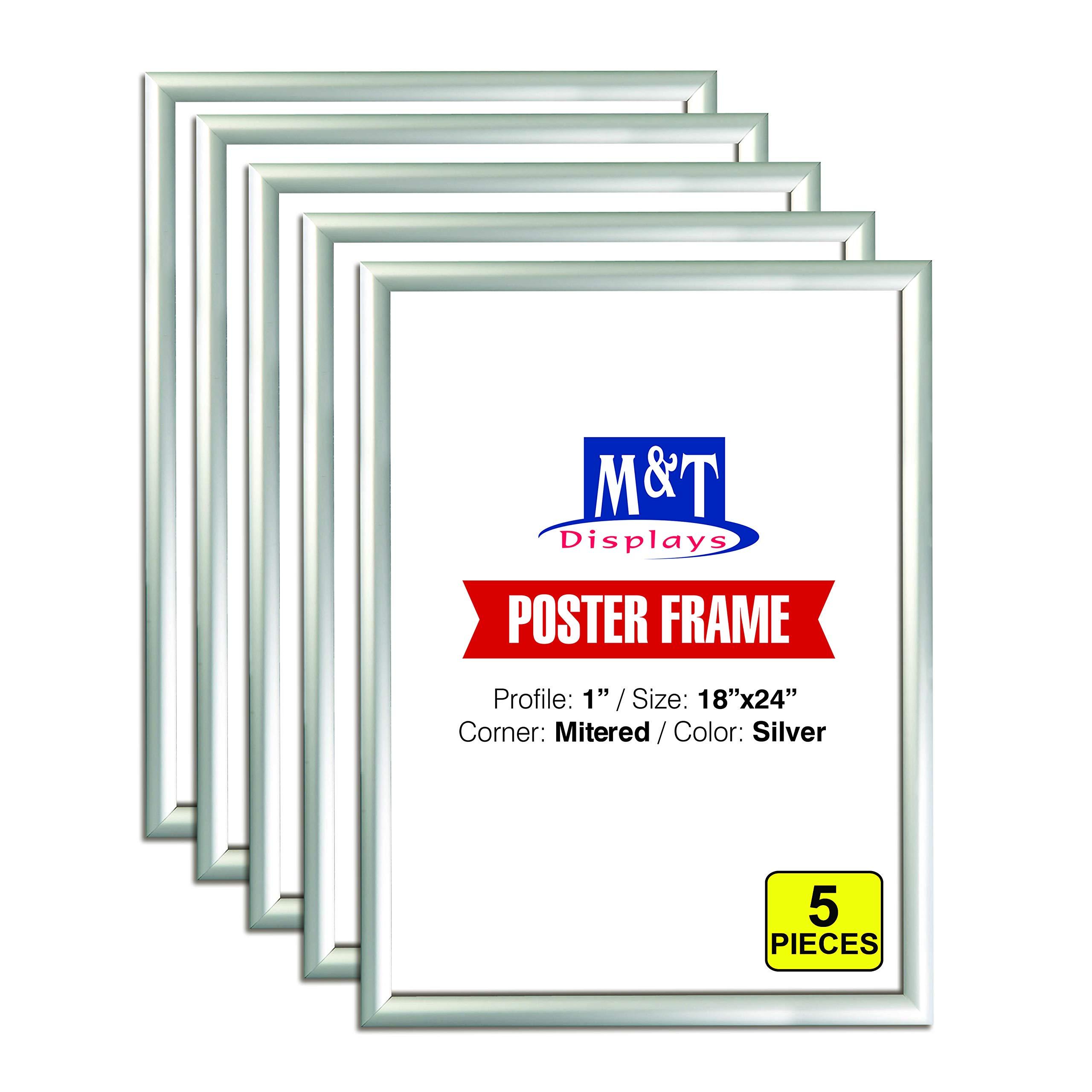 M&T Displays Snap Frame 18x24 Inch Poster Size, 1 Inch Silver Color Aluminum Profile, Front Loading, Mitered Corner (5 Frames)