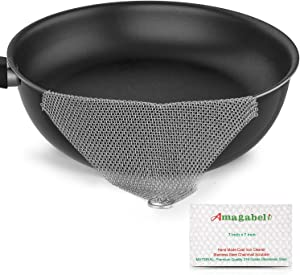 """Amagabeli 7""""x7"""" Cast Iron Cleaner Mesh Premium 316 Stainless Steel Small Rings with 3.8mm Opening Chainmail Scrubber for Cast Iron Pans Pre-Seasoned Pan Dutch Oven Waffle Iron Pans Skillet Cleaner"""