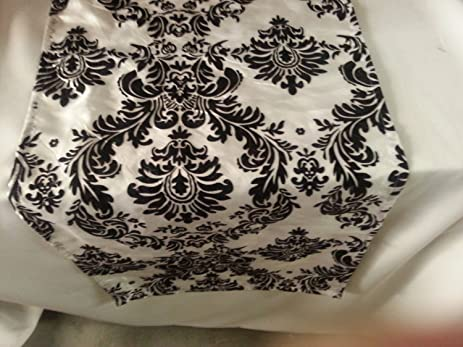 ArtOFabric Taffeta Flocking Damask Table Runner. 14u0026quot; X 144u0026quot;  White