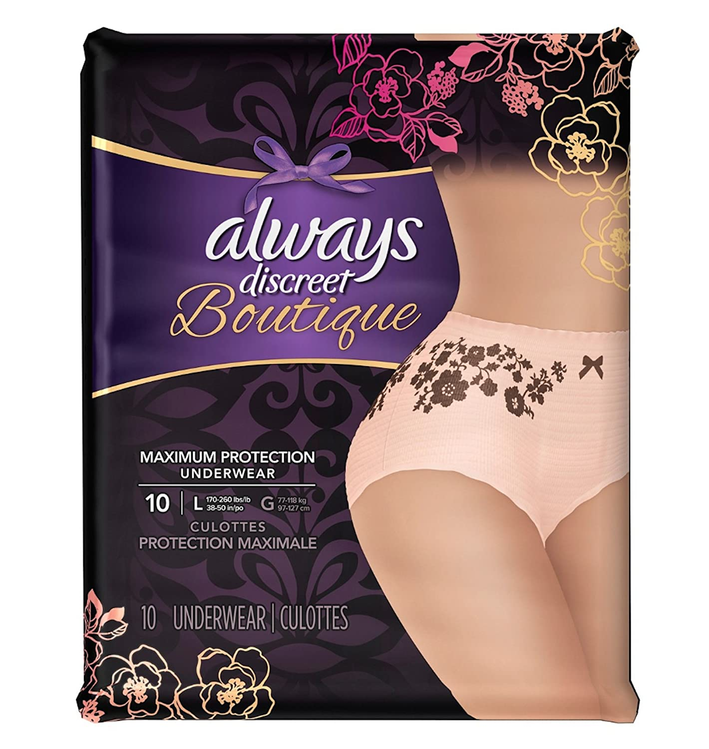 10 Count (1 Package) Large, Always Discreet Boutique Incontinence Underwear, Maximum Absorbency, Peach