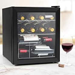 Igloo IBC16BK 15-Wine Bottle or 60-Can Glass Door Beverage Center Refrigerator and Cooler, Black