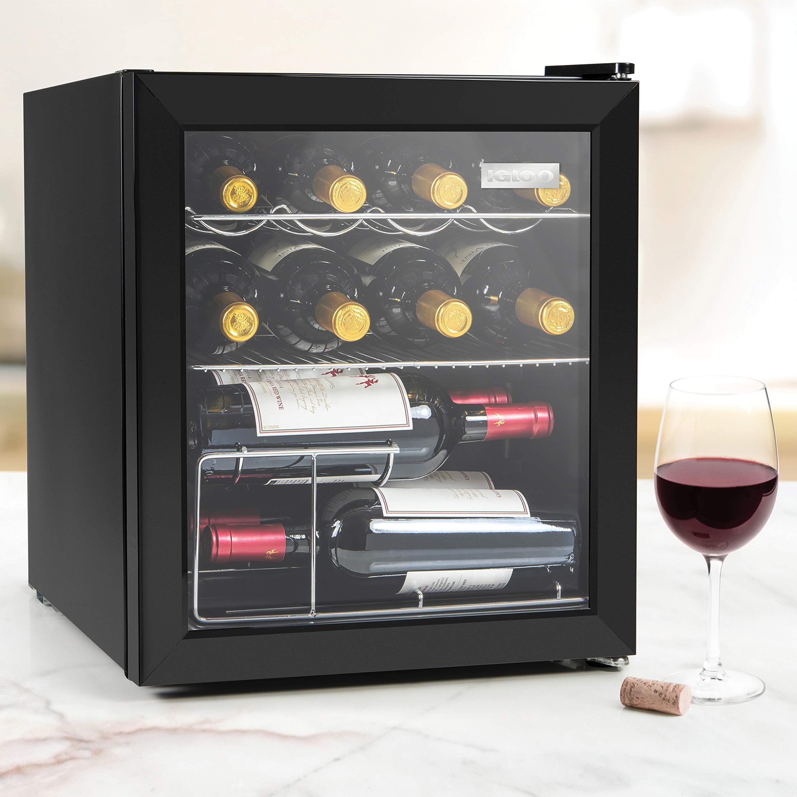 Igloo IBC16BK 15-Wine Bottle or 60-Can Glass Door Beverage Center Refrigerator and Cooler, Black