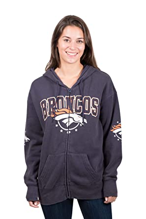 huge selection of d3ac4 83532 Ultra Game NFL Denver Broncos Women's Full Zip Fleece Hoodie Sweatshirt  Banner Jacket, Large, Navy