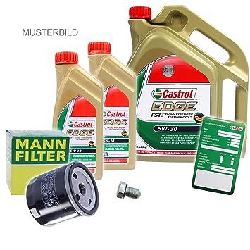 1 x Set de aceite - Muñeco de aceite + 7 L Castrol Edge FST 5 W de 30 Longlife: Amazon.es: Coche y moto