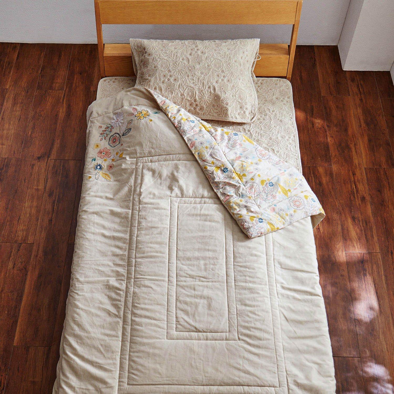 リネン混寝具3点セット 刺繍のようなお花畑アイボリー B07CNVQ9TL