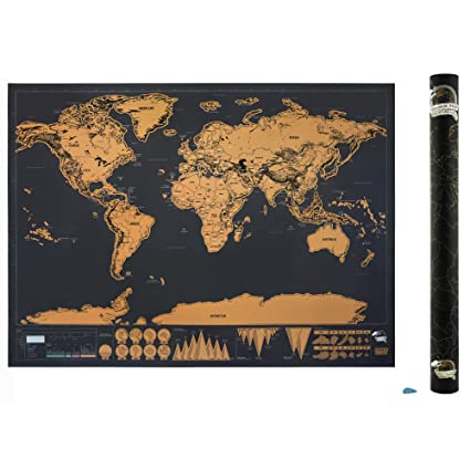 Amazon scratch off world map poster by srachco premium large scratch off world map poster by srachco premium large size map with detail cartography include gumiabroncs Gallery