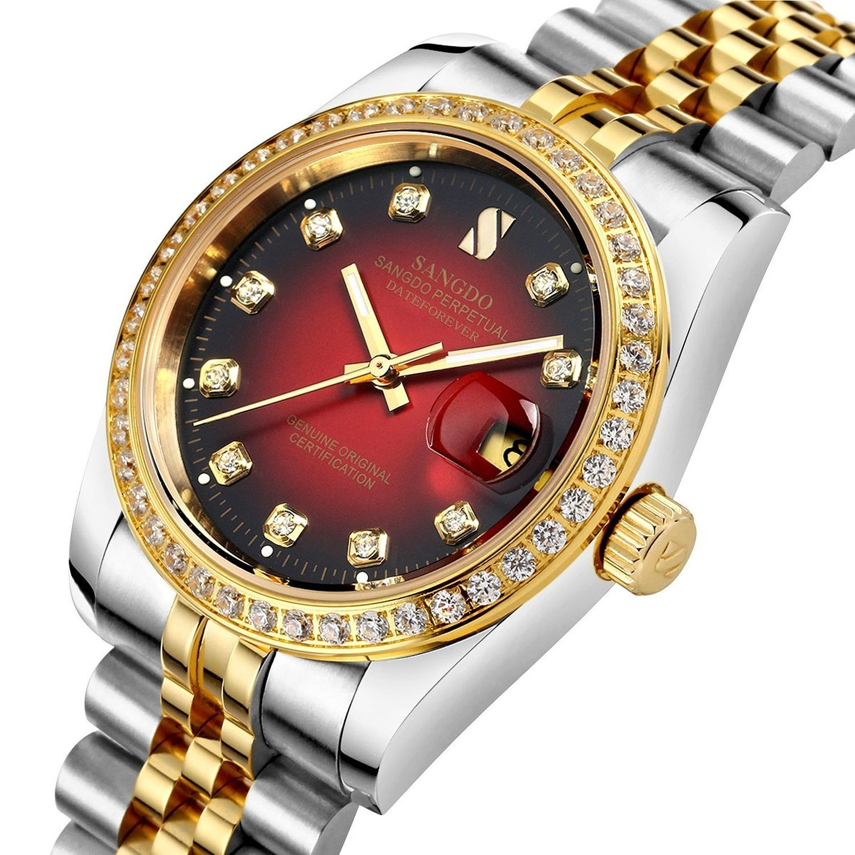 mastopメンズダイヤモンド付きベゼルレッドダイヤルツートンカラーバンド自動機械腕時計 B01FIC7VC4