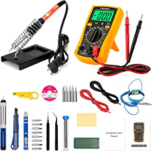 Soldering Iron Kit, 24 in 1 Upgrade Welding Soldering Iron Tools with Digital Multimeter, 60w Adjustable Temperature Soldering Iron with On/Off Switch, Soldering Tips, Desoldering Pump, Soldering Wire