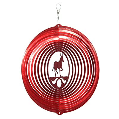 SWEN Products Donkey Mule Burro Circle Swirly Metal Wind Spinner: Garden & Outdoor