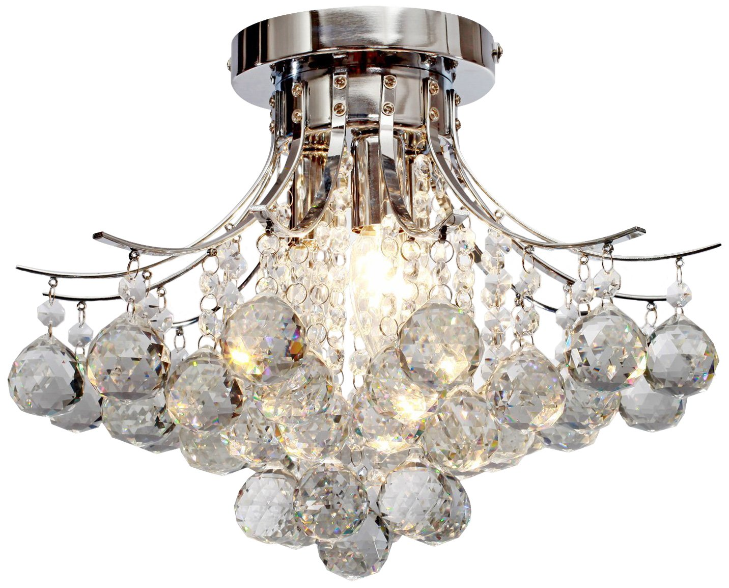 "Saint Mossi Chandelier Modern K9 Crystal Raindrop Chandelier Lighting Flush mount LED Ceiling Light Fixture for Dining Room Bathroom Bedroom Livingroom Pendant Lamp 11""H 16""W"