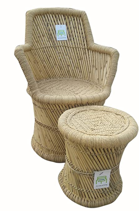 Ecowoodies Ajuga Eco Friendly Handicraft Cane Chairs And Bamboo Stool ( 1  Chair + 1 Stool