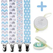 Pacifier Clip Holder for Boys + Pacifier Case by Bubble Pleasure - 4 Pieces Pack - Unisex Universal Designs Pacifiers Clips, Newborn Baby Gift Set, Best Cute Soothies Pacifier Holder for Girl Boy