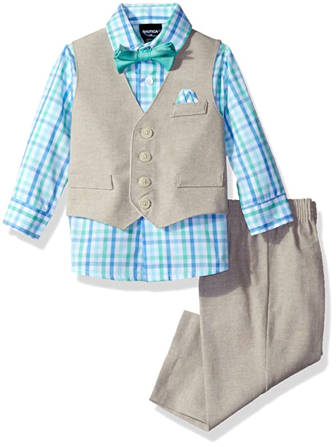 1940s Children's Clothing: Girls, Boys, Baby, Toddler Nautica Baby Boys Linen Look Vest Set $37.99 AT vintagedancer.com
