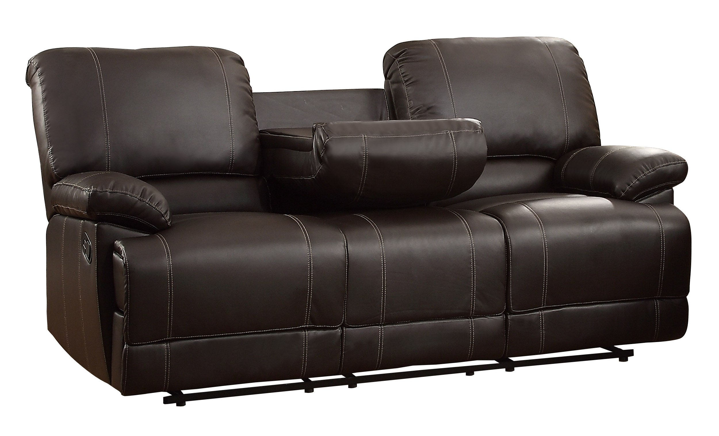 Homelegance Faux Leather Double Reclining Sofa, Brown by Homelegance