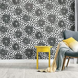 RoomMates RMK11478WP Toss The Bouquet Black Peel and Stick Wallpaper | Removable Wallpaper | Self Adhesive Wallpaper