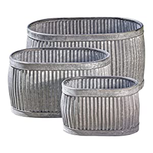 WHW Whole House Worlds French Country Style Oval Belly Planters, Set of 3, Galvanized Metal, Chubby Belly, Corrugated Cache Pots, Rustic Wash Basin, from Over 2 Ft Long (24 1/2, 20 and 14 1/2 Inches)