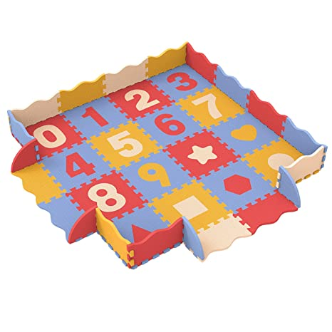 Bammax Alfombra Puzzle Bebe, Alfombra Gateo Bebe en Espuma EVA, Alfombra Infantil con Numeros 0 al 9 y Patrón de Geometría, 16 pcs Alfombra Acolchada ...