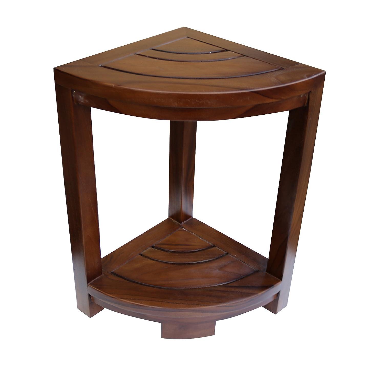 Amazon com alateak corner teak wood bath spa shower stool corner table bench stool fully assembled brown garden outdoor