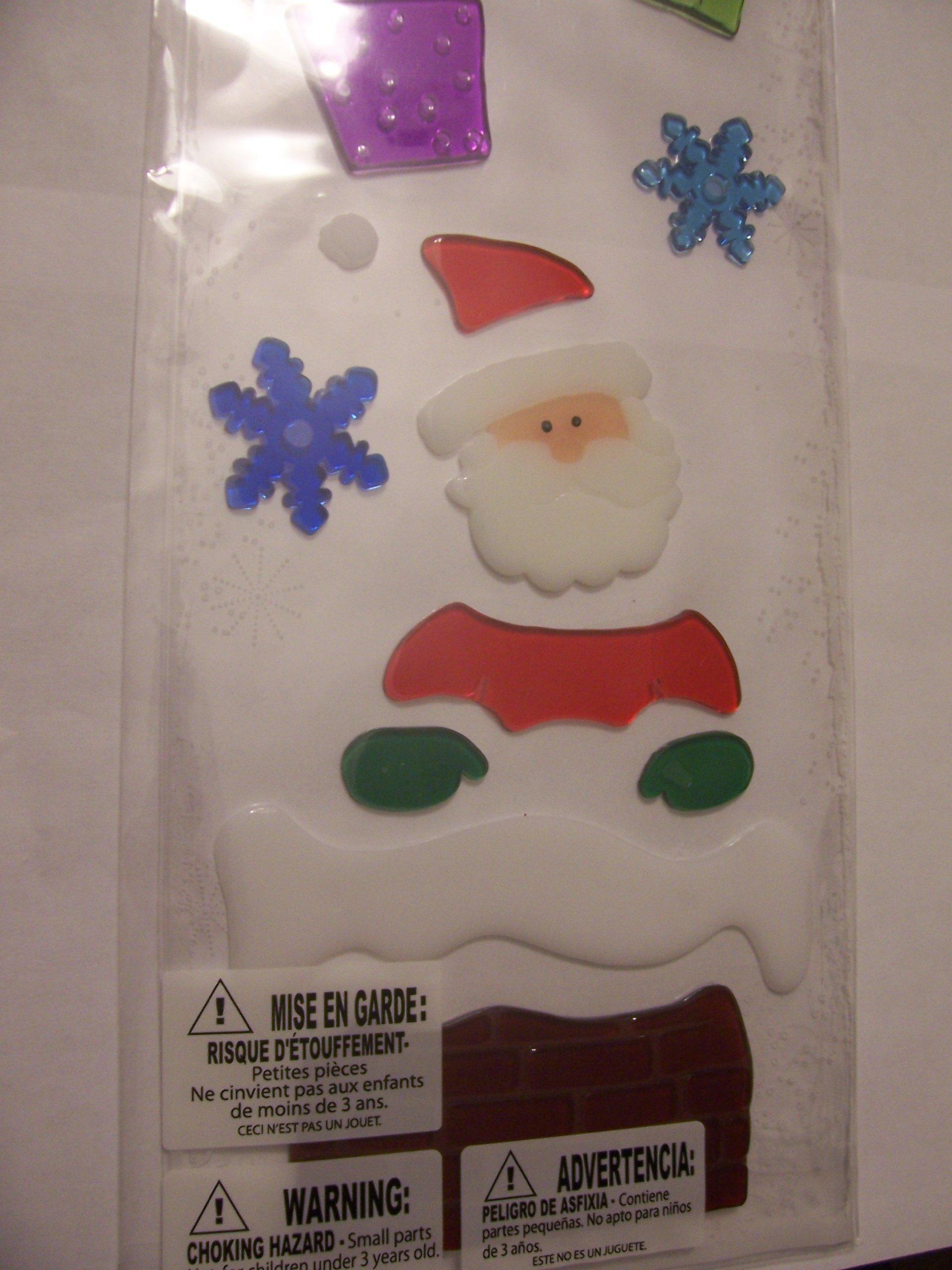 Impact Innovations Long Window Gel Clings ~ Santa in Chimney, Presents, Snowflakes (21 Clings, 1 Sheet)