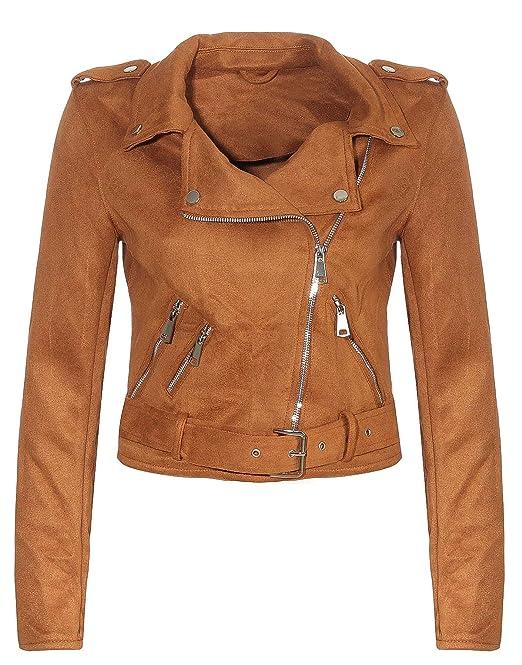 Malito Damen Jacke   Velours Jacke   Biker Jacke mit Gürtel   Kunstleder Jacke   Faux Leather 5199