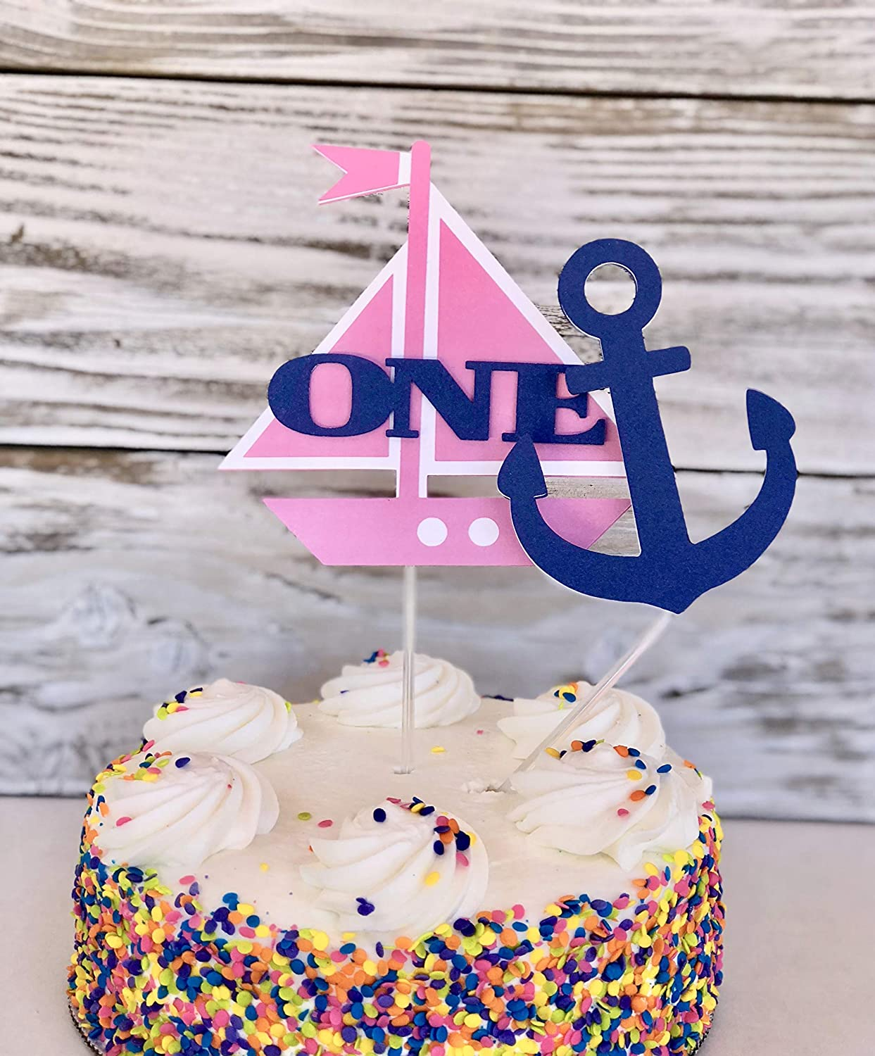 Marvelous Amazon Com Sailboat Cake Topper First Birthday Girl Nautical Personalised Birthday Cards Veneteletsinfo