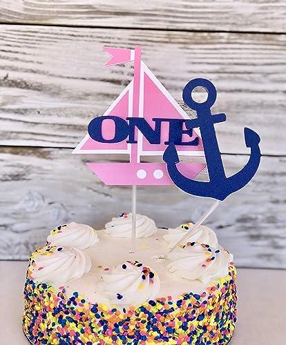 Marvelous Amazon Com Sailboat Cake Topper First Birthday Girl Nautical Funny Birthday Cards Online Sheoxdamsfinfo