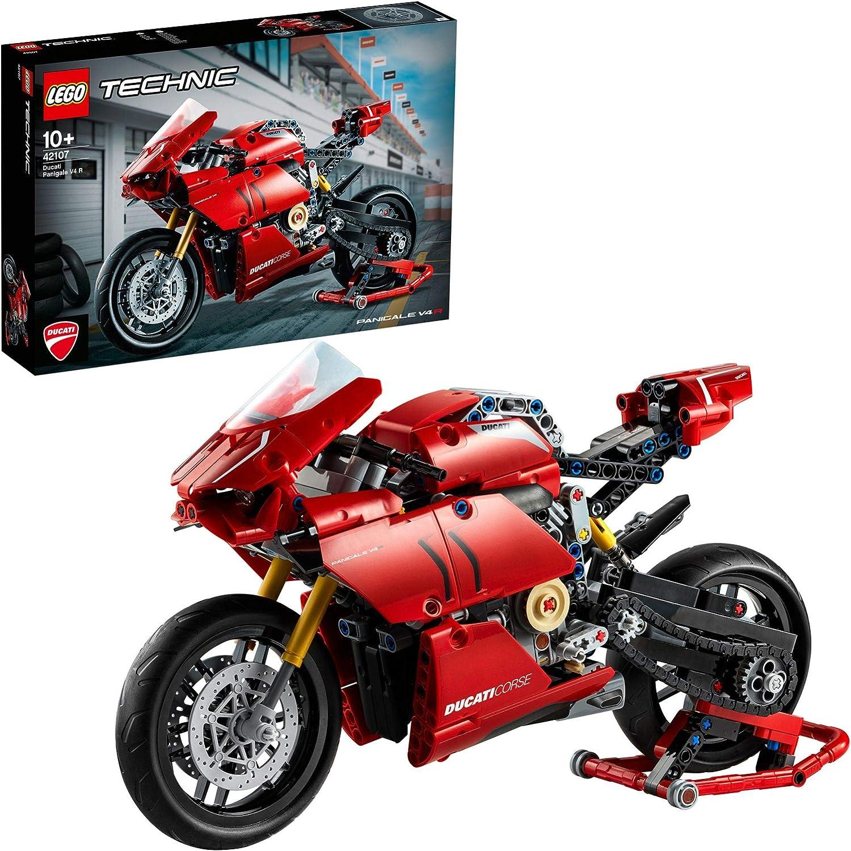 LEGO Technic - Ducati Panigale V4 R, Maqueta para montar de moto Ducati, set de construcción de supermoto roja, recomendado a partir de 10 años (42107)