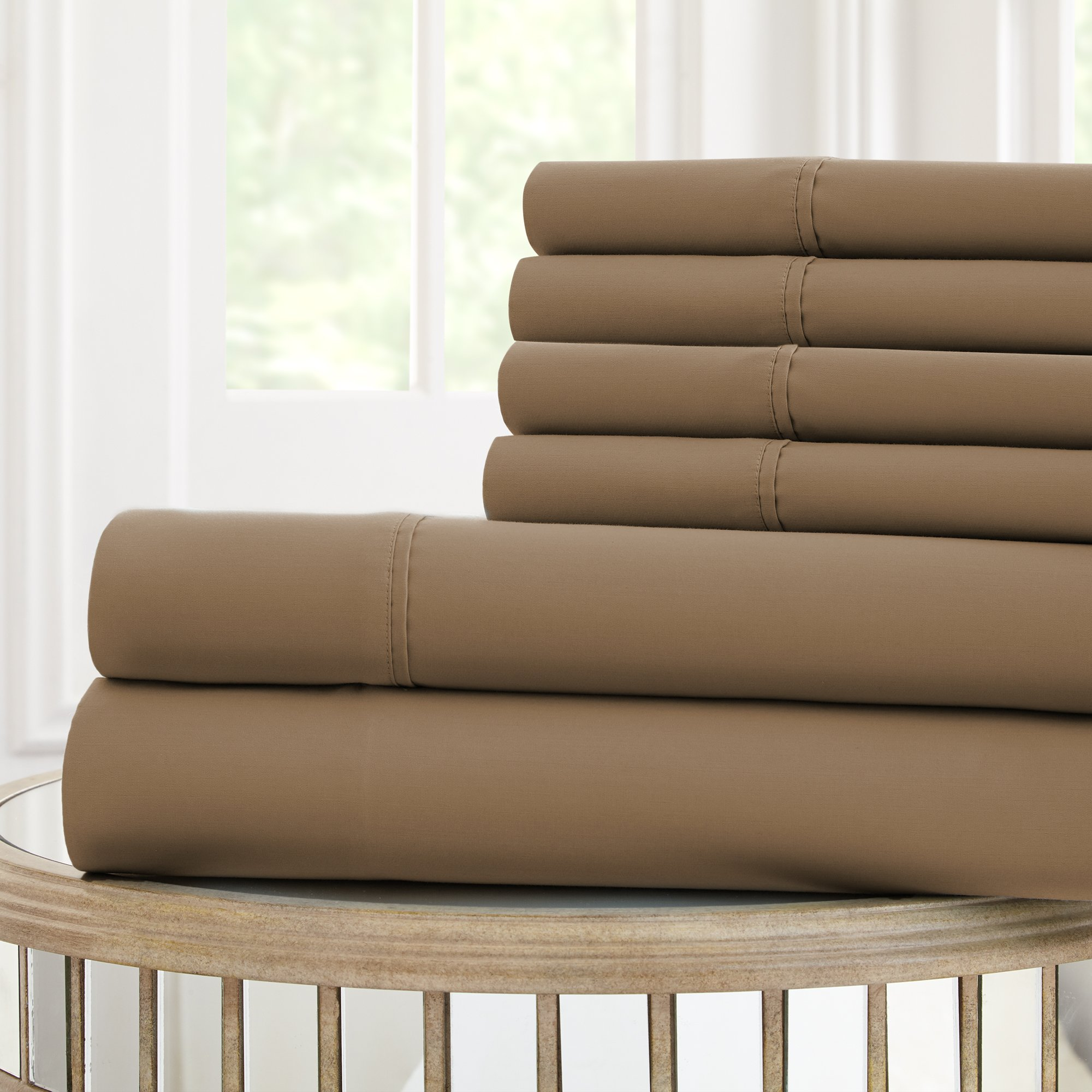 Amrapur Overseas 6-Piece Nanotex Cool Comfort 120 GSM Microfiber Sheet Set (Mocha, Queen)