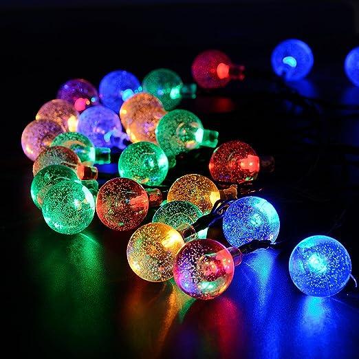 Liqoo Solaire Guirlande à Led 9m Globe Ball 50 Led Eclairage Multicolores étanche Ampoule Extérieure Lumière Décoratif Pour Jardin Fête Noël