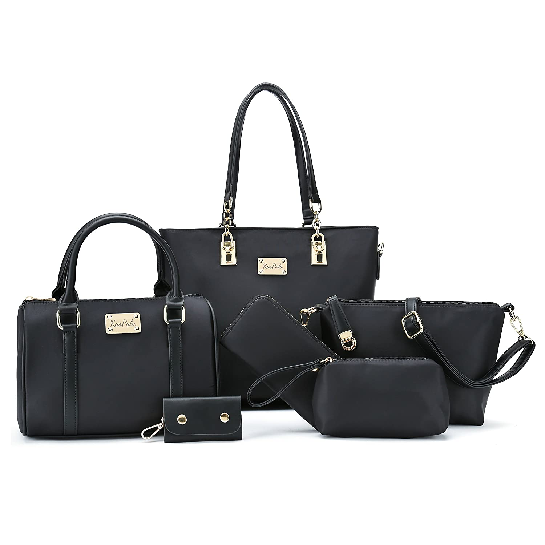 7f559667e Amazon.com: Women Shoulder Bag Tote Bag for Work Handbag and Purse 6 Piece Set  Bag (Black-4): Shoes