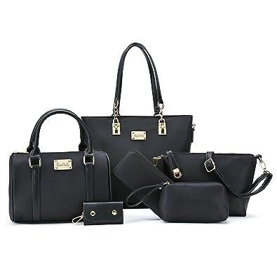 332996d08c217 Amazon.com: Women Shoulder Bag Tote Bag for Work Handbag and Purse 6 Piece Set  Bag (Black-4): Shoes
