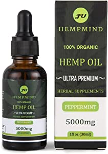 Hemp Oil Extract Ultra Premium -peppermit Flavor, 100% Organic Supplement -5000mg -for Pain & Stress & Anxiety Relief, Natural Hemp Drops -Helps with Better Sleep, Skin & Hair Reduce, Improve Health