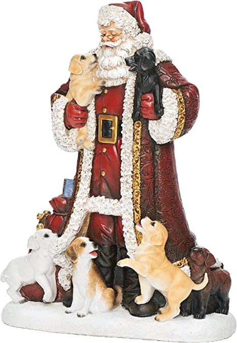 Amazon Com Roman Joseph S Studio Santa With Puppies Figure 12 H Slim Profile Joseph S Studio Christmas Collection Resin And Stone Decorative Home Decor Durable Long Lasting Home Kitchen