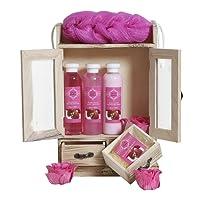 BRUBAKER Cosmetics - Coffret de bain - Fraise - 10 Pièces - Armoire en Bois - Idée cadeau