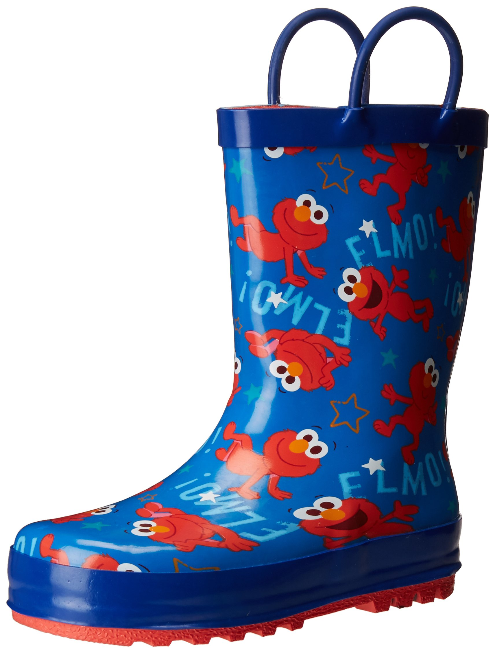 Sesame Street Boys' Kid's Character Licensed Rain Boot, Blue, Dual Shoe Size 7/8 Child US Toddler