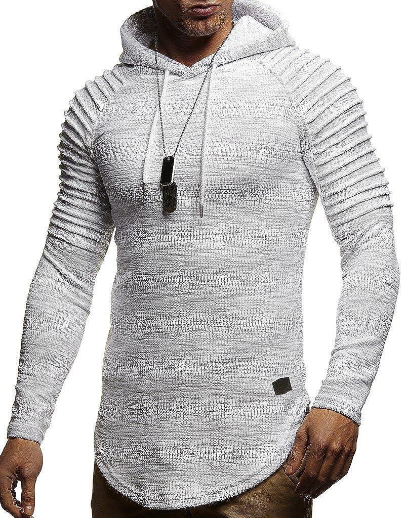 Leif Nelson Mens Pullover Hoodie Long Sleeve t Shirt Sweater Slim fit Sweatshirt Grey XX Large