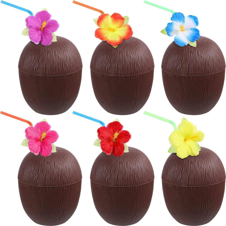 DEZHI 12 Pezzi Hawaiano Luau Bicchieri Coppe di Cocco in Plastica con Fiori di Ibisco Cannucce Pieghevole per FeDEZHI a Tema Spiaggia Forniture