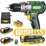 "Cordless drill, Brushless 20V 1/2"" Drill Driver, 2x2000mAh Batteries, 530 In-lbs Torque, 21+1 Torque Setting, Fast…"