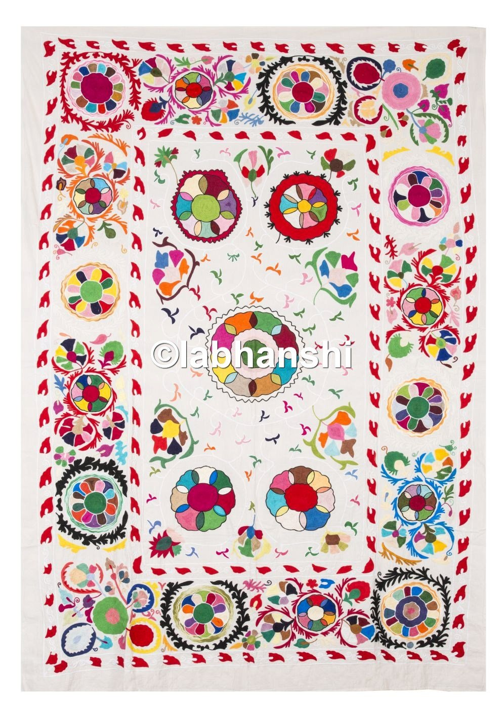 Uzbek Suzani Bedspread Twin Embroidered Cotton Bed Cover Ethnic Vintage Bedding