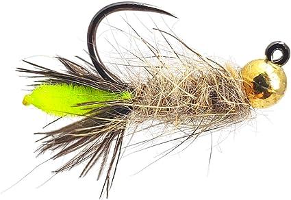Fly Fishing Flies 40 Assorted Beaded Dust Mop Flies size 10 Barbless Jig