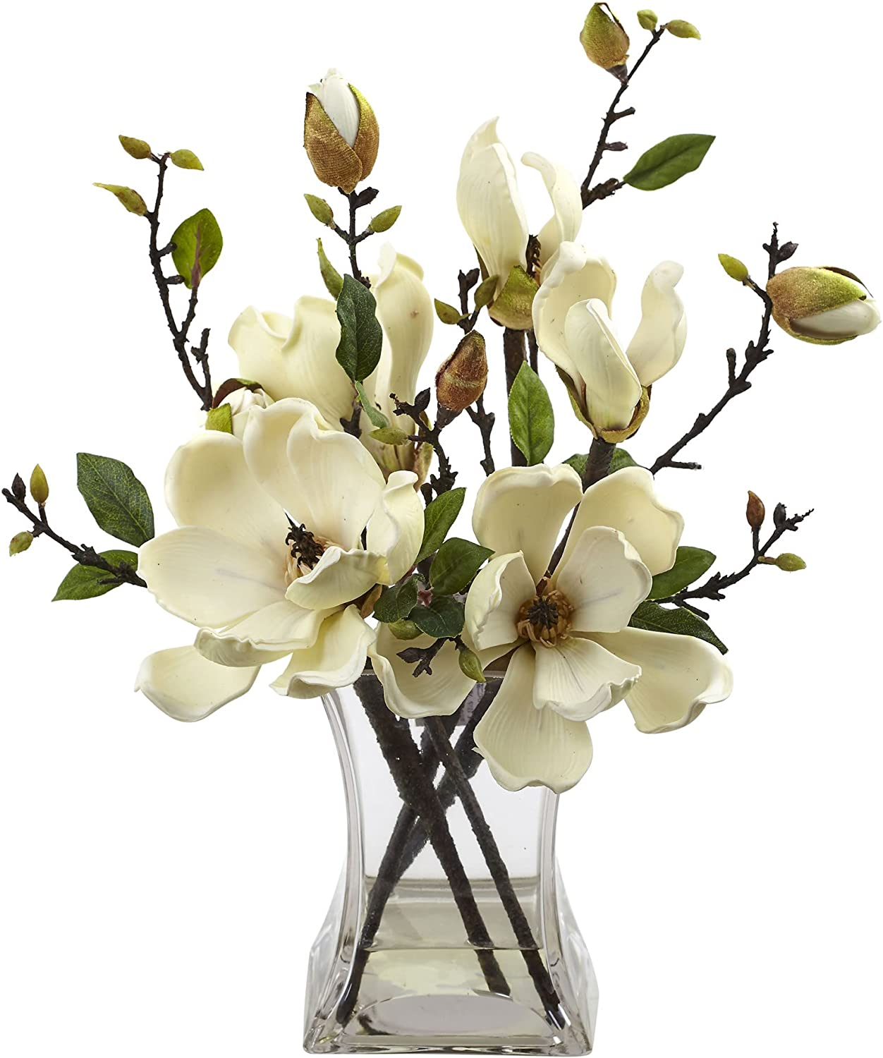 Amazon Com Nearly Natural 4534 Wh Magnolia Arrangement With Vase White Home Kitchen