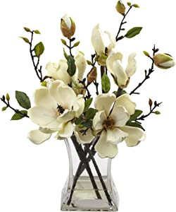 Nearly Natural 4534-WHMagnolia Arrangement with Vase,White