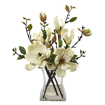 Amazoncom Nearly Natural Magnolia Arrangement With Vase Home