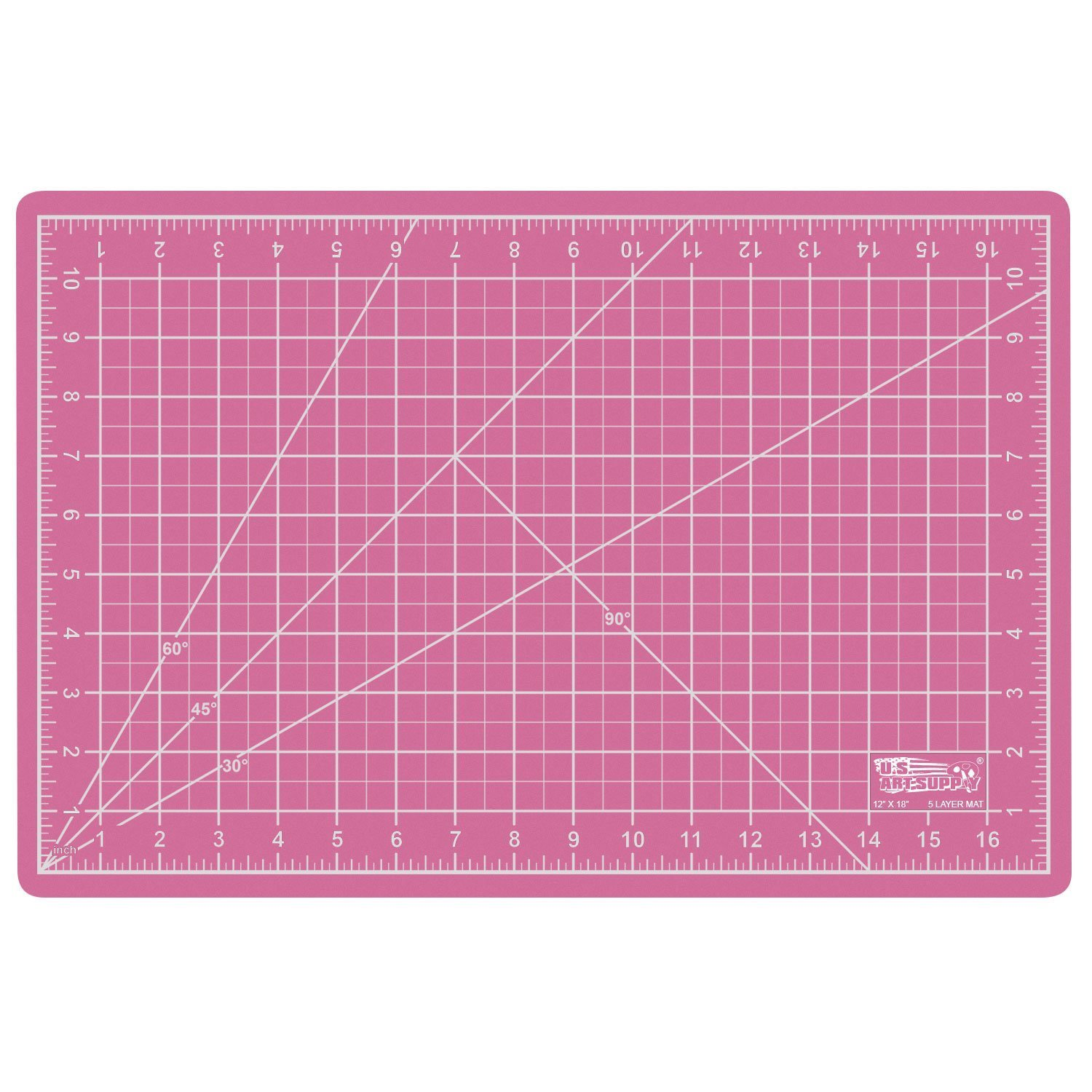 US Art Supply 12'' x 18'' PINK/BLUE Professional Self Healing 5-Ply Double Sided Durable Non-Slip PVC Cutting Mat Great for Scrapbooking, Quilting, Sewing and all Arts & Crafts Projects